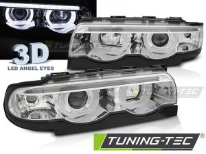 Оптика альтернативная передняя Tuning-Tec 3D Angels Eyes BMW e38 7 серия (1994-2001) хром